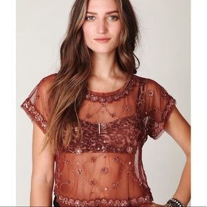 NWT Free People Sequin Sheer Top